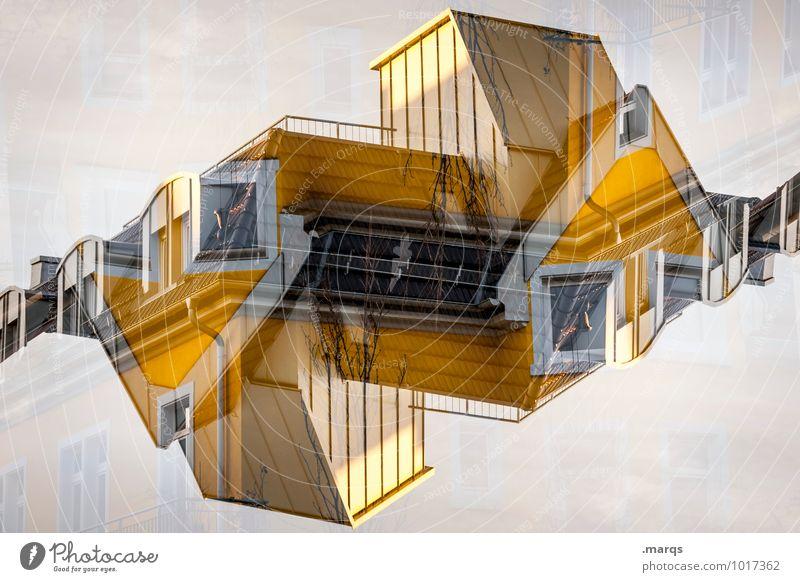 Architektur Lifestyle Stil Design Häusliches Leben Haus Bauwerk Gebäude Fassade Fenster außergewöhnlich eckig modern verrückt gelb Farbe innovativ Perspektive