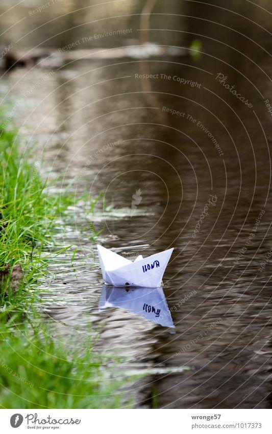 selbstgemacht   Papierboot Ferien & Urlaub & Reisen grün weiß Freude Spielen braun Wasserfahrzeug Kreativität Spielzeug Schifffahrt Bach Wasseroberfläche
