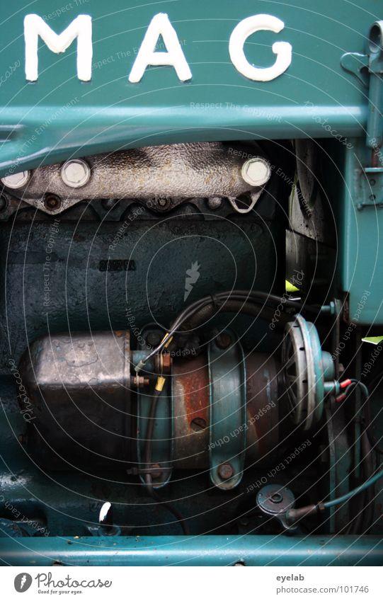 Drück einfach mal MAG ich ! alt grün blau kalt Design Industrie retro Schriftzeichen Buchstaben Landwirtschaft Amerika türkis Maschine Typographie Ackerbau