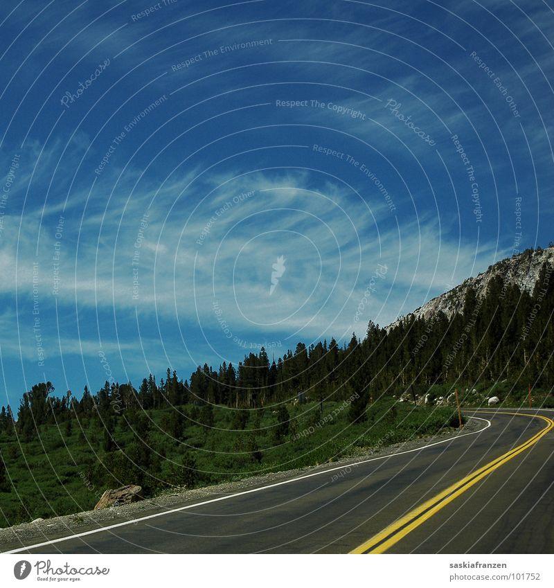 Straßen Ins Nichts. Fahrbahn Asphalt Wolken Wiese grün Baum Sommer USA Himmel blau Berge u. Gebirge Landschaft