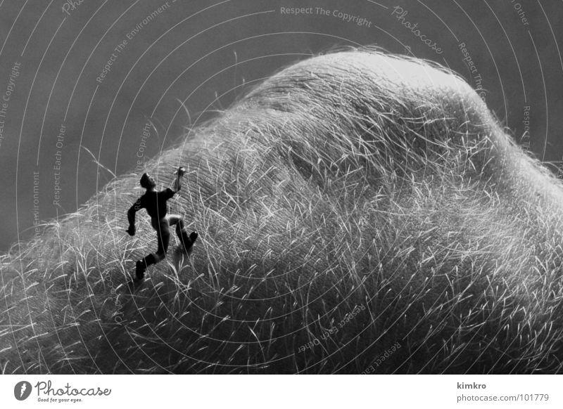 Körperlandschaft I Knie Hügel Schwarzweißfoto Läufer Landschaft rennen laufen