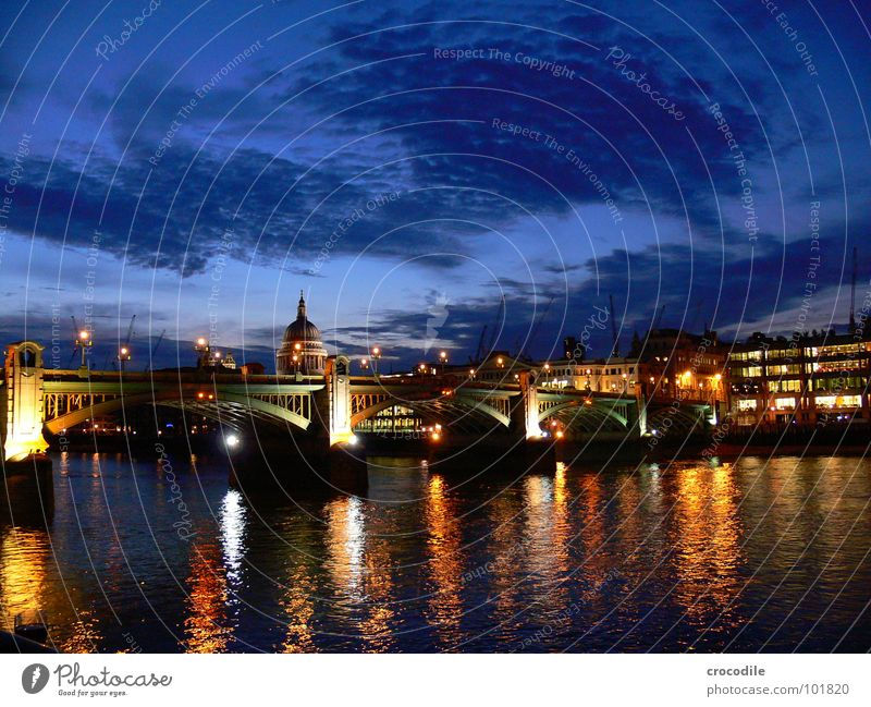 london at night Himmel Wolken Straße Brücke Fluss Denkmal London Wahrzeichen England Hauptstadt Kathedrale