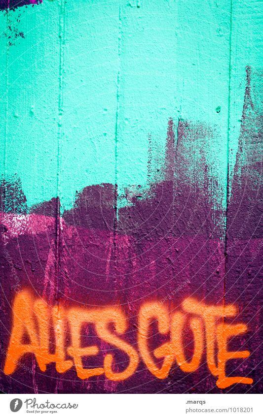 Tschüss, liebe Anne und alles Gute! grün Farbe Freude Wand Graffiti Stil Mauer Feste & Feiern orange Geburtstag Schriftzeichen einzigartig Coolness türkis