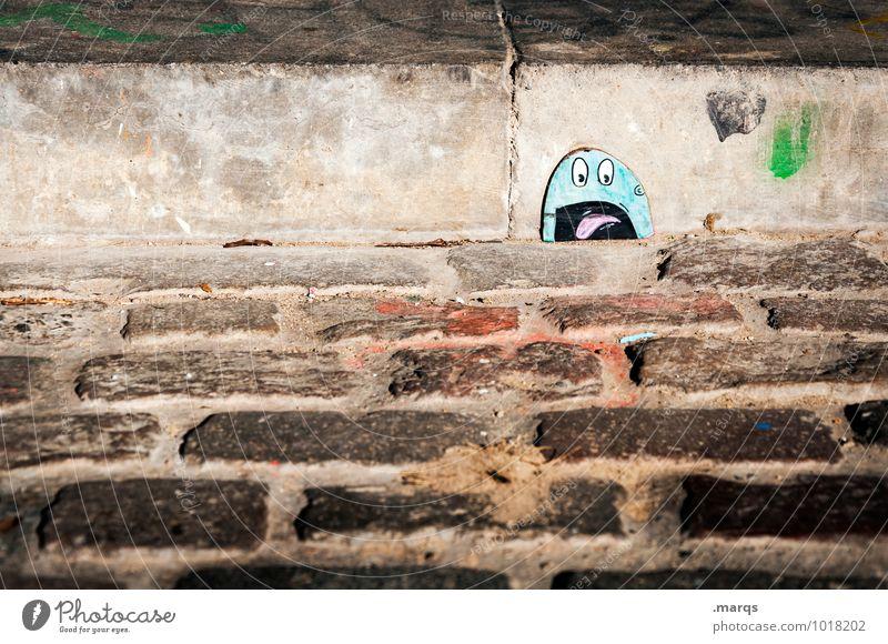 Der Schrei Graffiti lustig Stil außergewöhnlich Lifestyle Angst Treppe Boden Gesichtsausdruck schreien skurril Pflastersteine Entsetzen Comicfigur