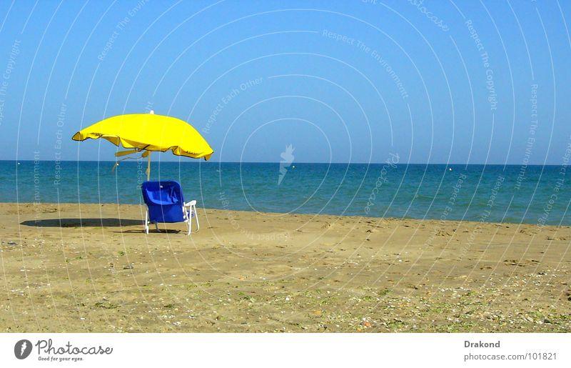 paradise in the earth Strand Rest gelb Himmel ruhig Meer heiter Horizont Ferien & Urlaub & Reisen Sommer Sand the Sun water sea tranquility serenity chair blue