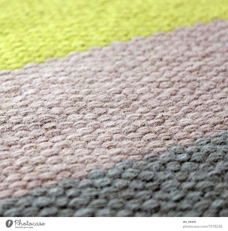 Struktur & Farbe Design harmonisch ruhig Haus einrichten Innenarchitektur Teppich Beruf Teppichgeschäft Handwerk Stoff gelb grau grün rosa Geborgenheit