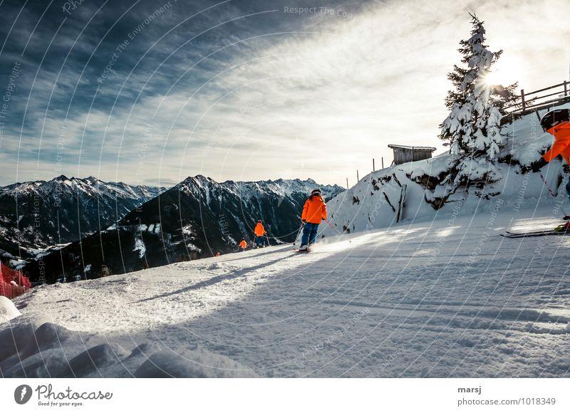 Ab auf die Piste! Mensch Ferien & Urlaub & Reisen Freude Winter Berge u. Gebirge Bewegung Schnee Sport Freiheit Menschengruppe Zusammensein Freizeit & Hobby