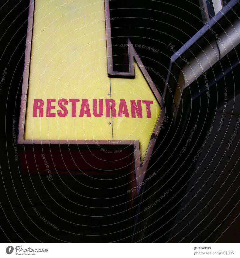 {self} service Restaurant Gastronomie Detailaufnahme Werbung Schilder & Markierungen Pfeil bahnhofsrestaurant Leuchtreklame Hinweis Hinweisschild Richtung