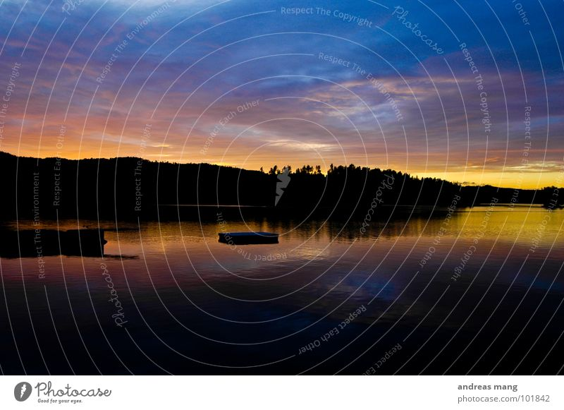 Sunset Freizeit & Hobby Norwegen See nass Flüssigkeit Abenddämmerung Dämmerung Sonnenuntergang Wald Baum Natur Wasser water sea blau blue badeinsel Küste