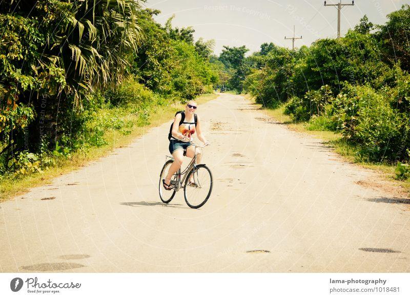Die Leichtigkeit des Seins Ferien & Urlaub & Reisen Sommer Sonne Fahrradfahren Natur Landschaft Sonnenlicht Pflanze Urwald Sukothai Thailand Asien Straße