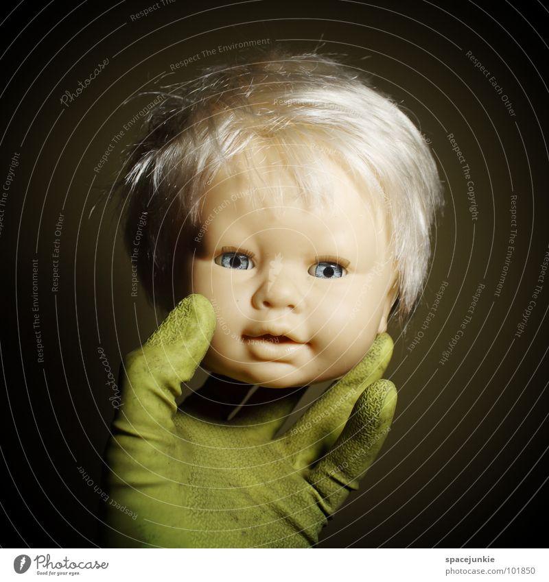 hand puppet (2) Spielzeug bedrohlich beängstigend blond Chucky gruselig Horrorfilm böse süß niedlich skurril Hand Handschuhe Handpuppe Marionette Freude Puppe