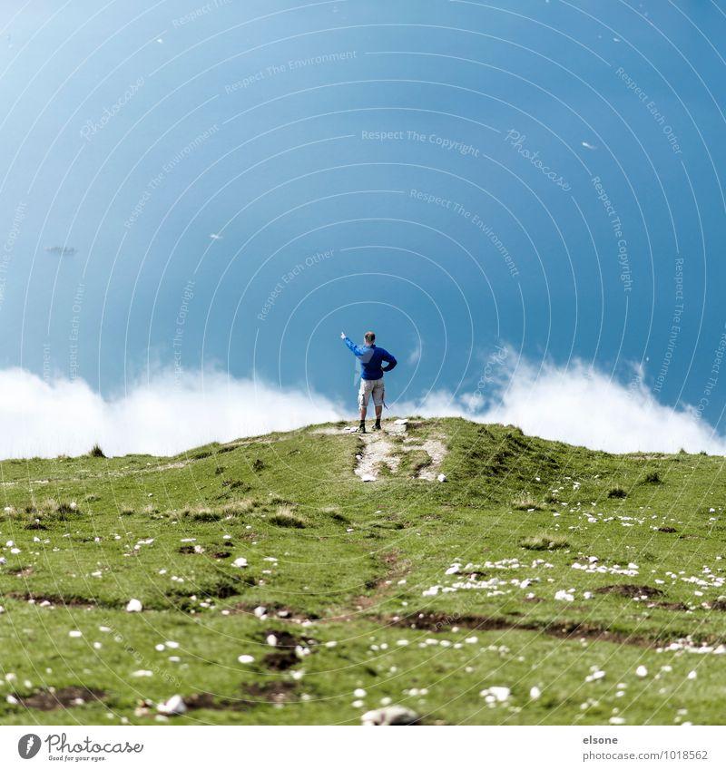 Der Mann und das Meer Ferien & Urlaub & Reisen Expedition Berge u. Gebirge wandern maskulin 1 Mensch Natur Landschaft Wasser Wolken Gipfel Fjord See stehen