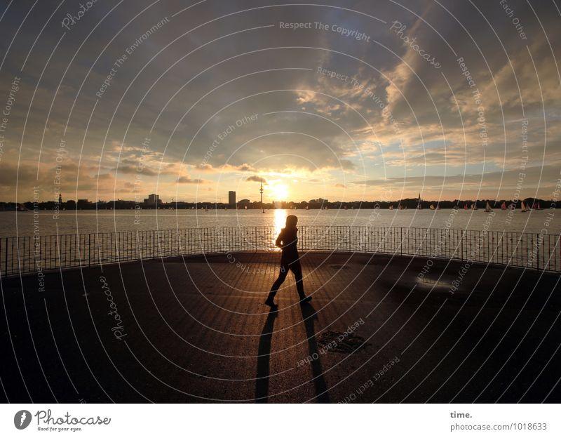 dusk walk 1 Mensch Umwelt Landschaft Wasser Himmel Wolken Nachthimmel Horizont Park Außenalster Hamburg Stadtzentrum Skyline Zaun Fußgänger Wege & Pfade gehen