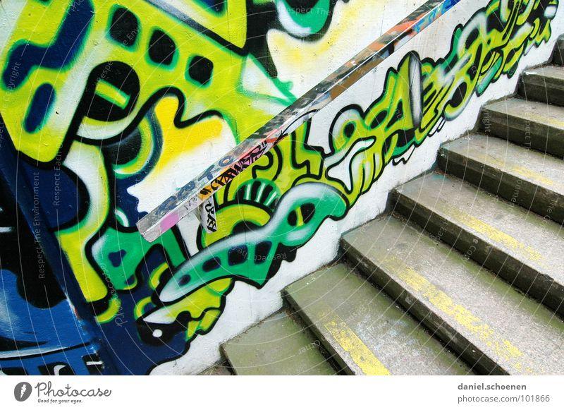 ne Treppe in Freiburg grün blau gelb grau Linie Graffiti Kunst Hintergrundbild Perspektive modern streichen Gemälde zyan Ornament sprühen