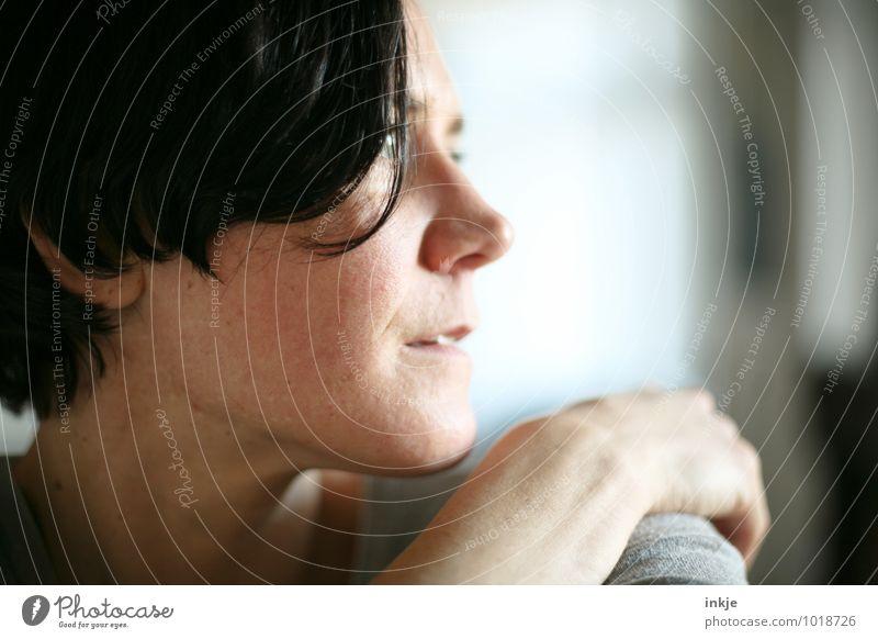 ° Mensch Frau Erwachsene Gesicht Leben Gefühle natürlich Lifestyle Freizeit & Hobby Häusliches Leben Zufriedenheit authentisch Gelassenheit verträumt Identität