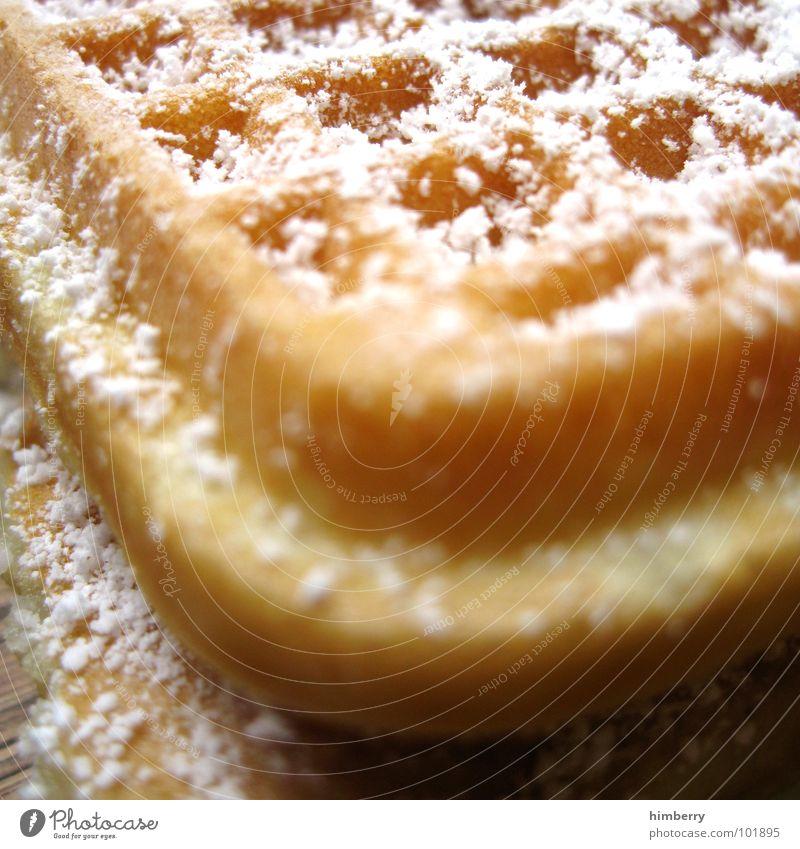 waffle corner Farbfoto mehrfarbig Nahaufnahme Detailaufnahme Makroaufnahme Strukturen & Formen Textfreiraum oben Kontrast Schwache Tiefenschärfe Lebensmittel