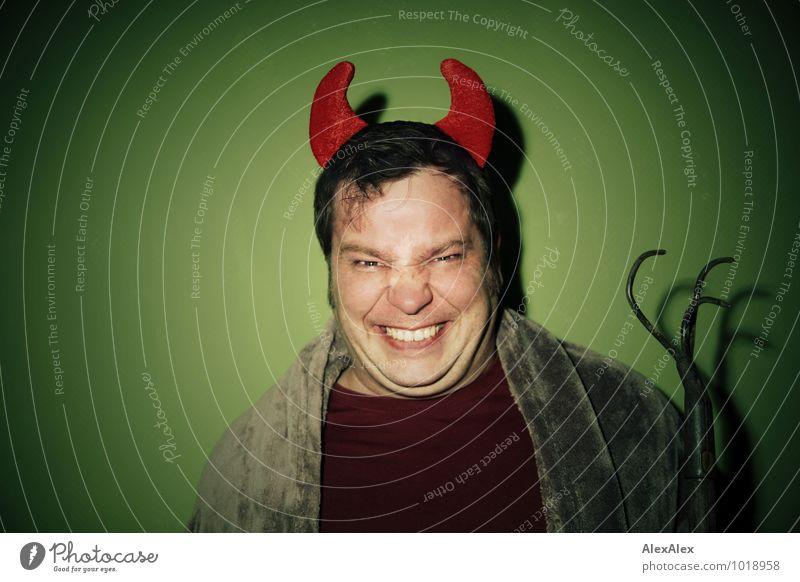 666 | Belzebub Lexi Mann grün rot dunkel Erwachsene leuchten Fröhlichkeit verrückt ästhetisch Lächeln Kommunizieren retro T-Shirt brünett böse Aggression