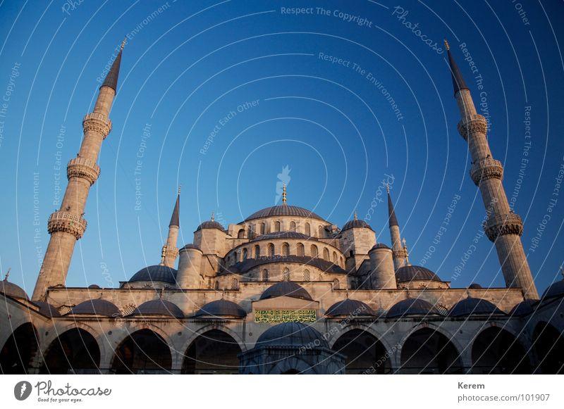Blaue Moschee schön Himmel blau Religion & Glaube Macht historisch Gott Götter Islam Istanbul Größe Naher und Mittlerer Osten Blaue Moschee Moschee Gotteshäuser Minarett