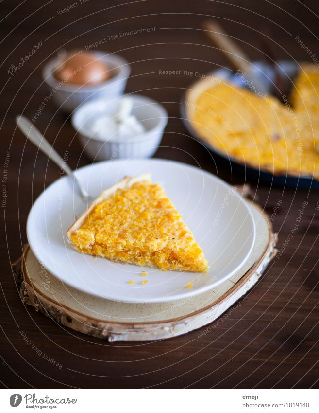 Kürbiswähe gelb Ernährung Gemüse lecker Geschirr Backwaren Teigwaren Mittagessen Vegetarische Ernährung Saison Kürbiszeit