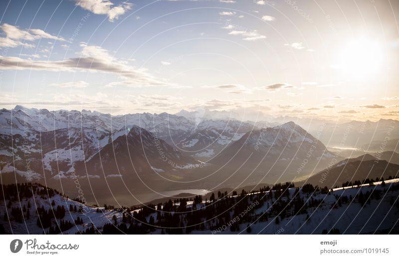 Abends Umwelt Natur Landschaft Himmel Winter Schönes Wetter Schnee Alpen Berge u. Gebirge natürlich blau Farbfoto Außenaufnahme Sonnenlicht Sonnenstrahlen