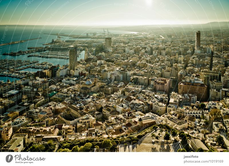 Alicante Spanien Europa Stadt Hafenstadt Stadtzentrum historisch maritim Ferne Costa Blanca Mittelmeer iberische Halbinsel spanisch Häusermeer Küstenstadt