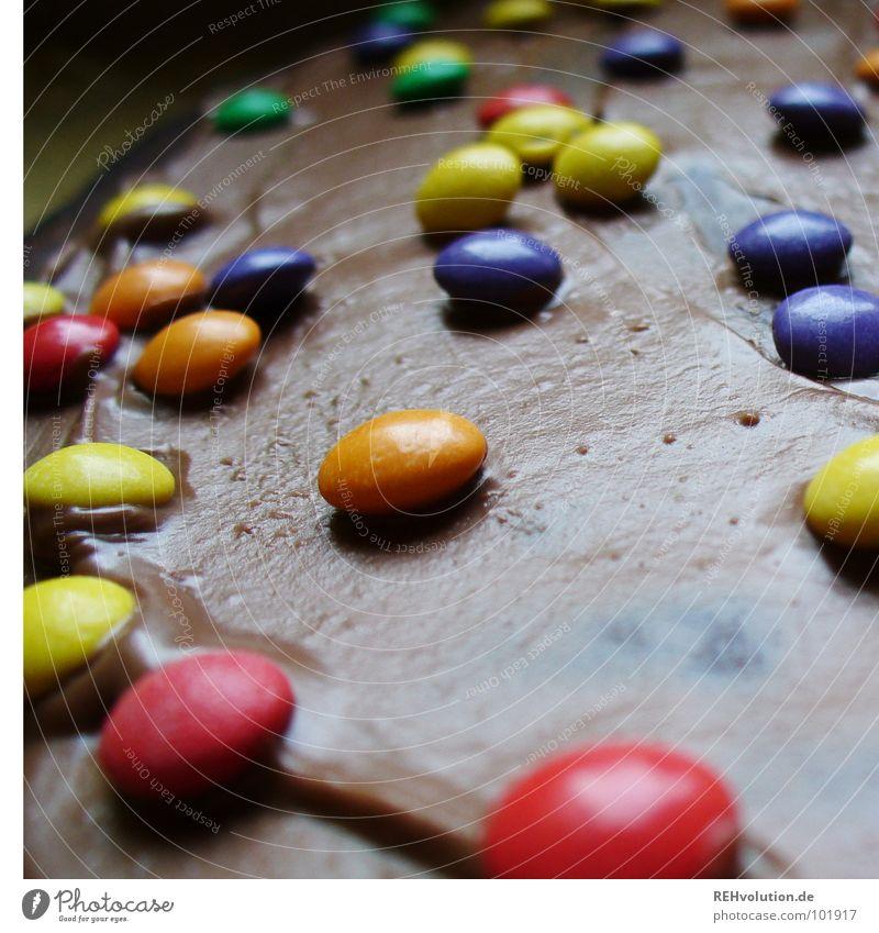 Viele viele bunte ... ! mehrfarbig Schokolinsen violett grün rot gelb Schokolade Dessert Kaffeetrinken Kaffeepause Blech lecker Ernährung liegen Backwaren
