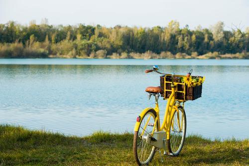 Saisoneröffnung blau grün Sommer Erholung ruhig gelb Schwimmen & Baden Freizeit & Hobby Ausflug Schönes Wetter Seeufer Fahrradtour
