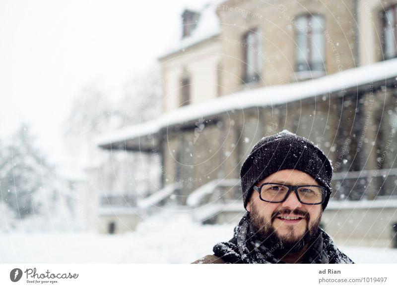 Aus Meiner Festung Stil Häusliches Leben Wohnung Haus Traumhaus Garten Mensch maskulin Mann Erwachsene Kopf 1 30-45 Jahre Winter schlechtes Wetter Eis Frost