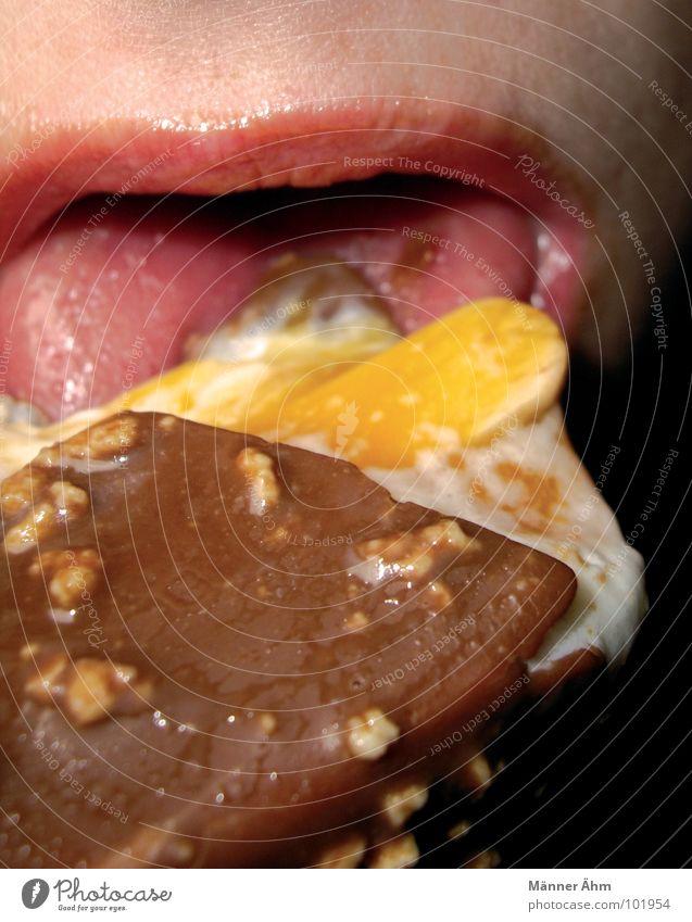 Leck mich... Frau Sommer Essen Mund Eis Speiseeis Süßwaren genießen Zunge lutschen Nuss