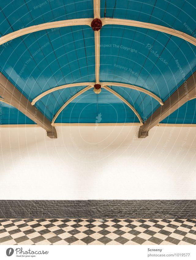 Blau Weiß Grau Bauwerk Gebäude Architektur Halle Mauer Wand Dach Dachgebälk Torbogen Strebe Fliesen u. Kacheln historisch blau grau weiß Niederlande Schachbrett