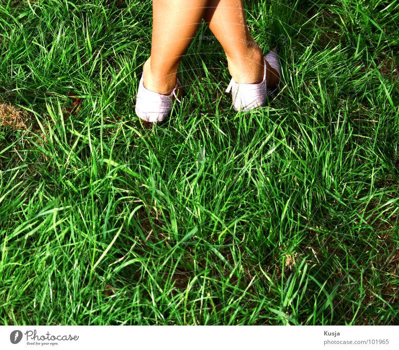^ Schuhe Strümpfe Gras grün Wiese Stroh Frau Fuß Rücken