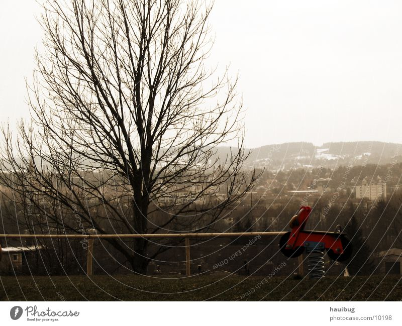 Rote Biker-Schaukel Natur Baum rot Aussicht Motorrad Spielplatz Sepia