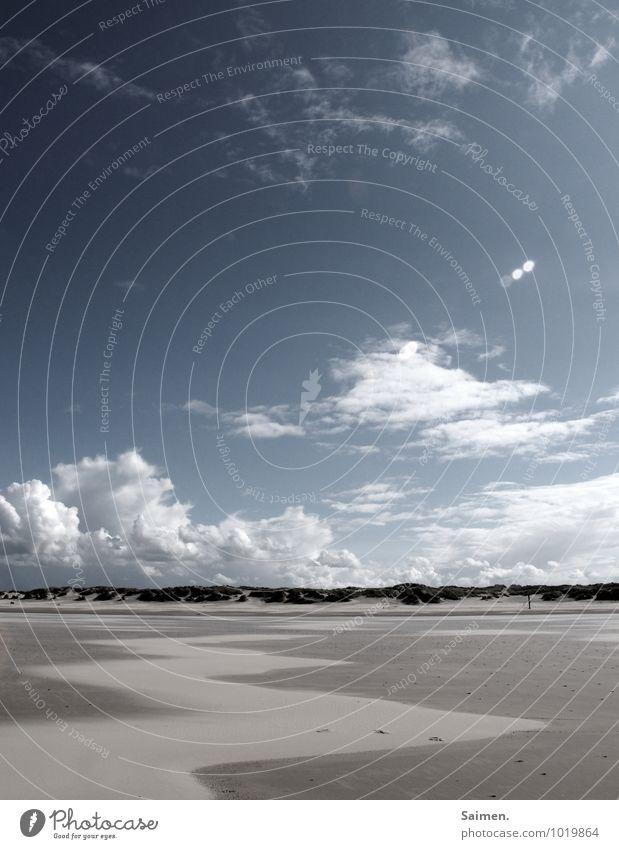 strandkunst Himmel Natur Ferien & Urlaub & Reisen blau ruhig Wolken Strand Umwelt Küste Freiheit braun Sand Horizont Luft Wetter Idylle