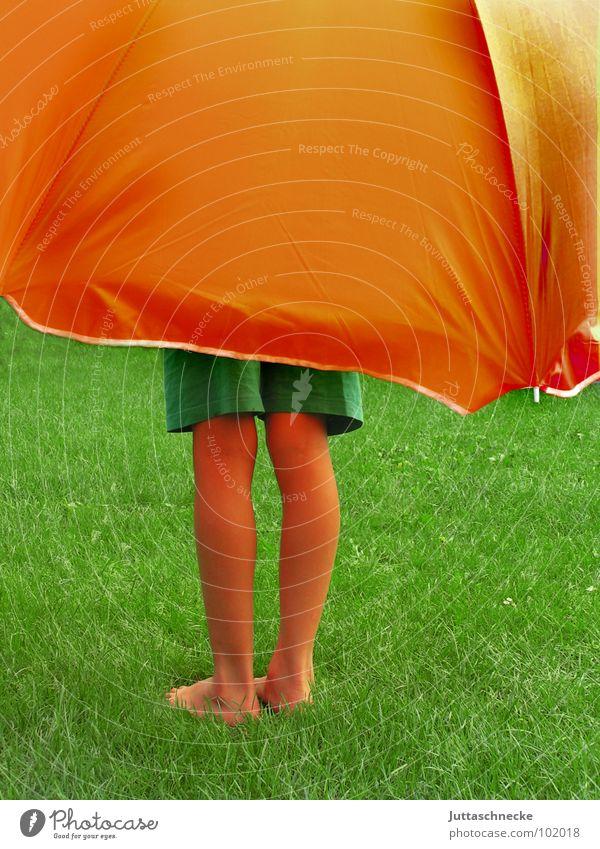 Under my Umbrella Mensch Kind grün Sommer Freude Wiese Gras Garten träumen Fuß Beine orange groß Sicherheit Schutz Vertrauen