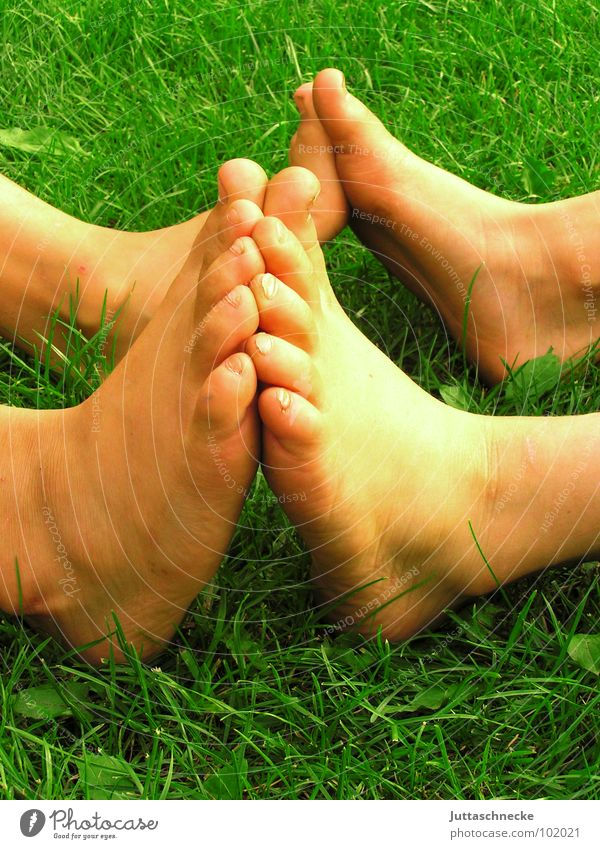 Freunde Mensch Kind grün Sommer Freude Liebe Gras Garten Glück Paar Fuß Freundschaft Zusammensein dreckig paarweise Vertrauen