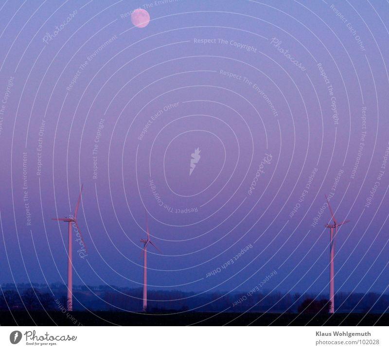 Moderne Romantik blau Landschaft Technik & Technologie Industrie Windkraftanlage Mond Erneuerbare Energie