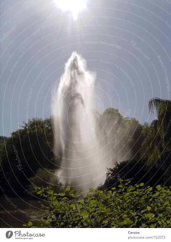 Wasserfontäne Natur Wasser Sonne Sommer Freude See Regen nass Wassertropfen hoch Fluss Strahlung feucht Bach Teich fein
