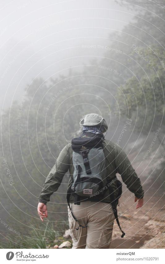 We Walk I Natur Landschaft Wetter Abenteuer wandern Hut Mensch abgelegen laufen dunkel Düsterwald ungewiss Außenaufnahme Berge u. Gebirge Wald Nebel