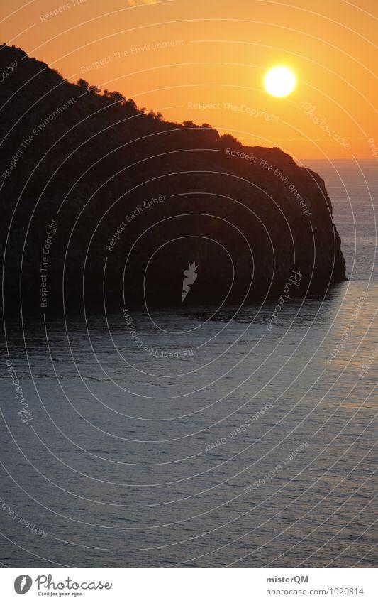 Dinner Background. Natur Sonne Meer Felsen Idylle Zufriedenheit ästhetisch Insel Romantik Mallorca Mittelmeer friedlich Urlaubsfoto Urlaubsstimmung