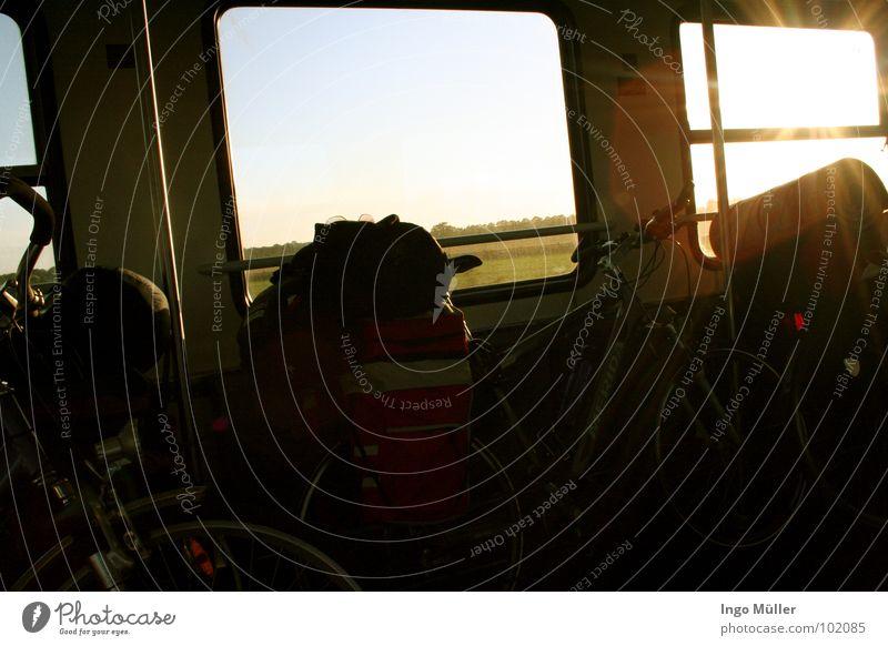 Radtour Ferien & Urlaub & Reisen Sonne Sommer Landschaft Fenster Beleuchtung Fahrrad Eisenbahn anstrengen Tasche Gepäck Satteltaschen