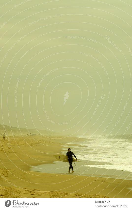 fertig Mann Natur Wasser Meer Sommer Strand Einsamkeit Ferne Leben Küste Wellen Frankreich Surfen Brandung Wassersport Atlantik