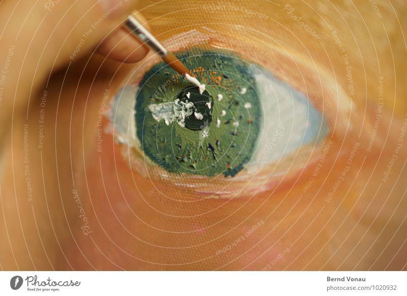 Blick Auge Hand Finger Kunst Maler Kunstwerk Gemälde grün orange weiß malen Pinsel Leinwand Glanzlicht pinselspitze Farbe ölmalerei Ölfarbe Kreativität