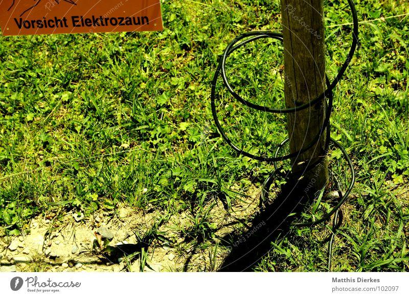 DANGER! alt Landschaft Wiese Berge u. Gebirge Schilder & Markierungen Energiewirtschaft gefährlich Elektrizität Kabel Hinweisschild bedrohlich
