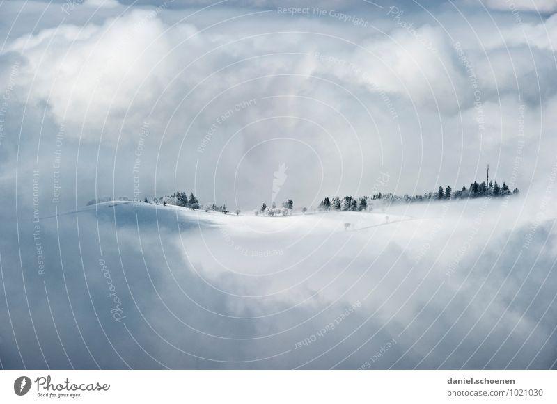 knapp drüber weiß Landschaft Wolken Winter grau hell Eis Gipfel Frost Hügel Klimawandel