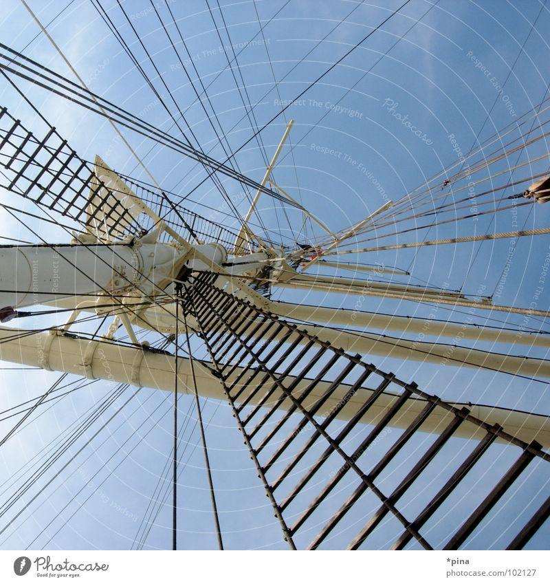 den wind aus den segeln genommen Ferne Freiheit Wasserfahrzeug Abenteuer Hafen Segeln Strommast Fernweh Seemann Segelschiff Rickmer Rickmers