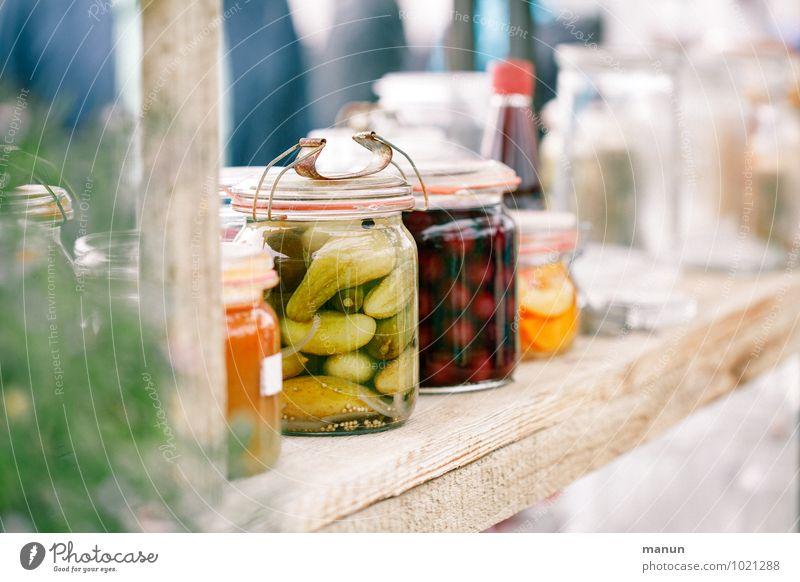 Süßes und Saures Lebensmittel Gemüse Frucht Süßwaren Kräuter & Gewürze Essig Gurke Kirsche Einmachglas Vorratsbehälter Ernährung Frühstück Abendessen Büffet