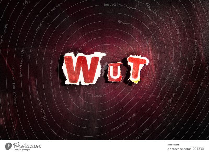 Wut Gefühle Schriftzeichen Papier Zeichen Buchstaben Gewalt Stress Wort Konflikt & Streit Aggression Frustration Ärger Enttäuschung Hass gereizt
