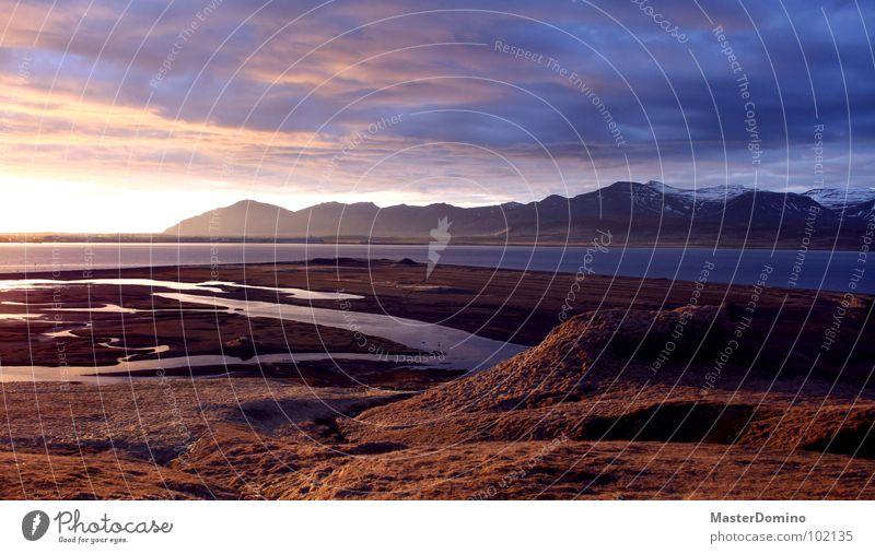Hvalfjörður Wasser Himmel Meer ruhig Wolken Schnee Gras Berge u. Gebirge See Frieden Hügel Island Abenddämmerung Fjord diffus