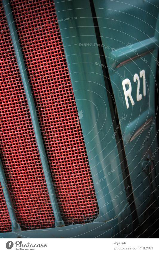 R27 Typographie Logo Design Traktor retro Fünfziger Jahre Sechziger Jahre türkis grün Landwirtschaft Fahrzeug Maschine Motor Landei Ackerbau Getriebe Gitter