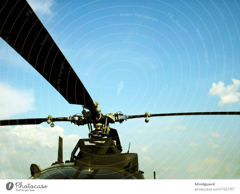 Rotationsprinzip Quer Hubschrauber graphisch rotieren beweglich Krieg aufklären Wolken zyan Flugzeug Luftverkehr Elektrisches Gerät Technik & Technologie
